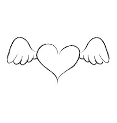 heart love with wings romantic icon vector image
