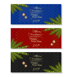 horizontal banner set for new year 2019 vector image