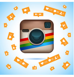 Instagram logotype camera on pc screen instagram vector