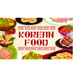 Korean food asian cuisine authentic dishes menu vector
