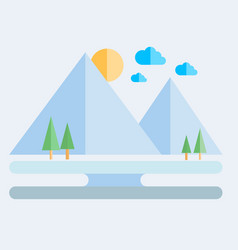 landscape flat icon vector image