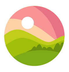 landscape with gradual pink sunset and green vector image