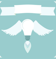 light bulb with drawing wings concept of new idea vector image