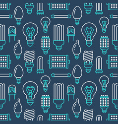Light bulbs seamless pattern with flat line icons vector