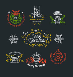 linear design christmas greetings elements vector image
