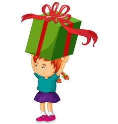 Little girl lifting giant present box vector