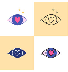Love in eye icon set in flat and line styles vector