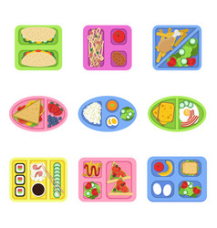 Lunch box school fresh healthy food in plastic vector