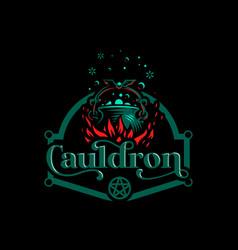 magic cauldron with a bat handle vector image