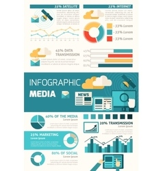media infographic set vector image