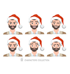men in santa hat with different emotions vector image