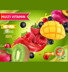 Mix fruits and berries juice advertising vector