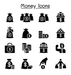 money cash bank note coin icon set vector image