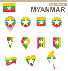 Myanmar flag collection vector