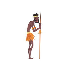 Native black skinned man in traditional costume vector