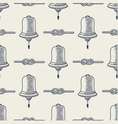 nautical seamless ship bell and rope elements vector image