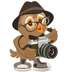 Owl hipster in hat and sunglasses holding retro vector