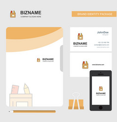 pencil box business logo file cover visiting card vector image