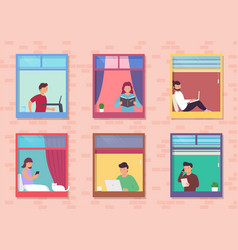 people in windows house look out room or vector image