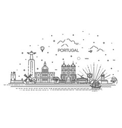Portugal line skyline with panorama vector