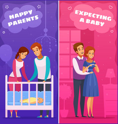 Pregnancy newborn cartoon banners vector