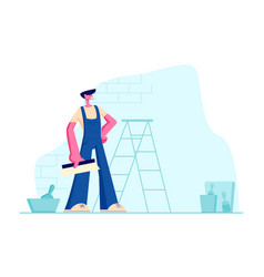 Professional home improvement master in overalls vector