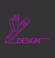 Purple pencil with wings art studio logo black vector image