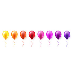 realistic colorful glossy flying air balloons set vector image