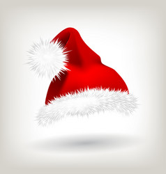 red santa hat party icon head background vector image