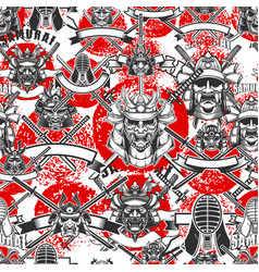 seamless pattern with samurai masks in monochrome vector image