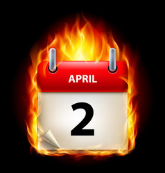 Second april in calendar burning icon on black vector