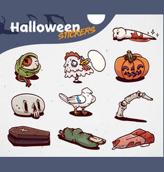 set of cartoon halloween creepy icons stickers vector image