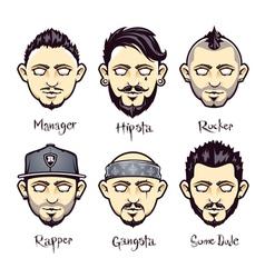 Set of modern mens hairstyles vector