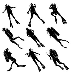 set silhouettes of divers vector image