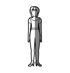 silhouette shading body faceless woman with t vector image