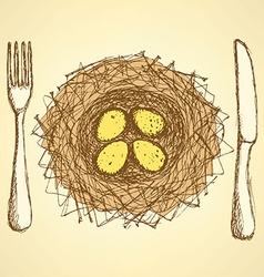 Sketch nest plate with fork and knife in vintage vector image