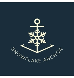 Snowflake Anchor Concept Symbol Icon or Logo vector image