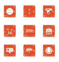 Sport republic icons set grunge style vector
