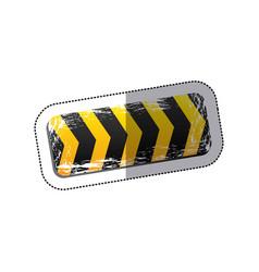 sticker emblem striped hazard tape line vector image