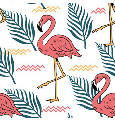 Summer seamless pattern with pink flamingo vector