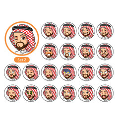 The second set of saudi arab man cartoon character vector