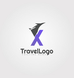 Travel agent logo design with initials x letter vector