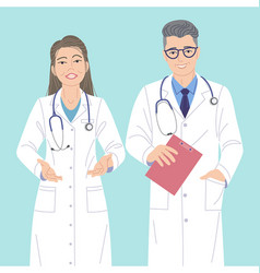 two doctors man and woman characters vector image