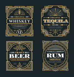 Vintage whiskey and alcoholic beverages vector