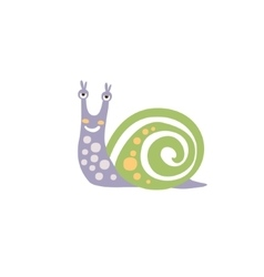 Viole Polka-dotted Snail With Green Shell Smiling vector