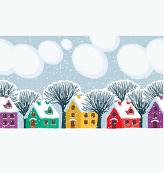 winter landscape with colored houses and trees vector image