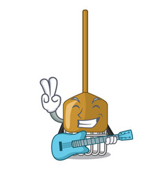 with guitar garden rake agriculture tool mascot vector image