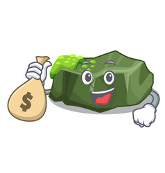with money bag cartoon green rock sample of high vector image