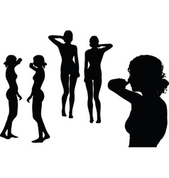 woman silhouette with hand gesture touch the nose vector image