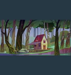 Wooden stilt house summer forest in rainy weather vector
